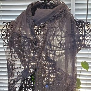 Women's dainty lacy thin scarf